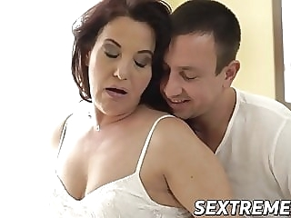 Curvy redhead granny takes throbbing young cock balls deep blowjob cumshot mature