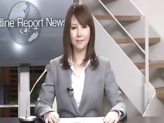Real Japanese news reader two bukkake japanese public